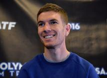 Feb 11, 2016; Los Angeles, CA, USA; Luke Puskedra during a press conference prior to the 2016 U.S. Olympic Trials Marathon at the J.W. Marriott. Mandatory Credit: Kirby Lee-USA TODAY Sports