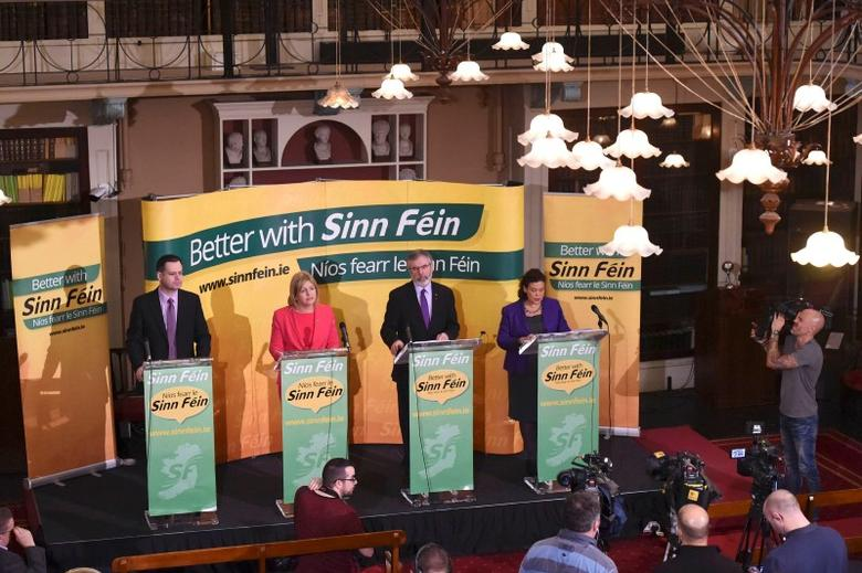 Sinn Fein leader, Gerry Adams launches the party's election manifesto in Dublin, Ireland on February 9, 2016. Ireland will hold a general election on February 26. REUTERS/Clodagh Kilcoyne