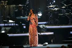"Singer Rihanna performs ""Say You, Say Me"" at the 2016 MusiCares Person of the Year gala in Los Angeles, California February 13, 2016.  REUTERS/Mario Anzuoni"