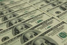 Uma imagem ilustrativa mostra notas de dólar no banco OTP, em Budapeste. 23 de novembro de 2011. REUTERS/Laszlo Balogh
