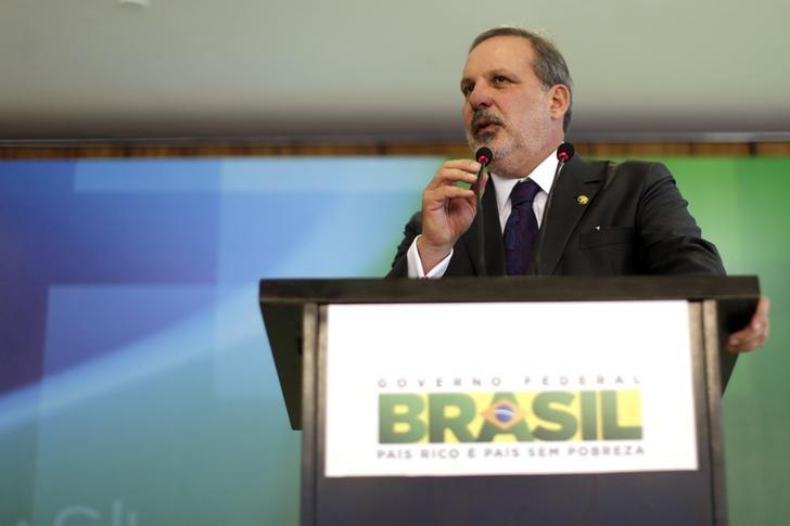 Armando Monteiro, Brazil's Trade Minister, speaks during a news conference after he was introduced at the Planalto Palace in Brasilia in this file photo dated December 1, 2014. REUTERS/Ueslei Marcelino