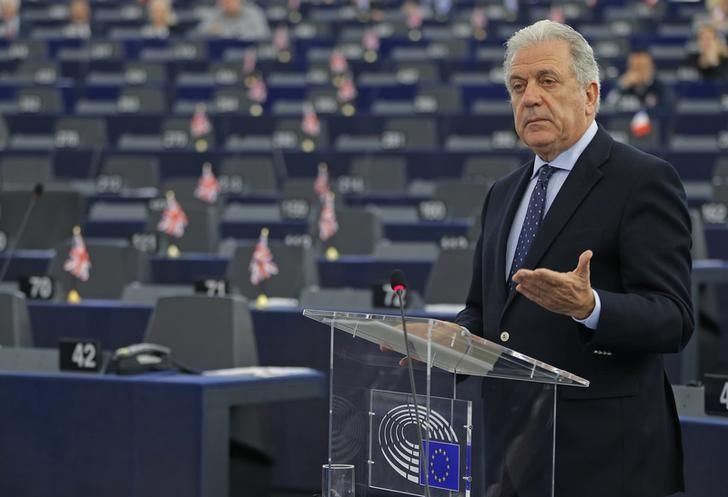EU Commissioner for Migration and Home Affairs Dimitris Avramopoulos addresses the European Parliament during a debate on refugee emergency, external borders control and the future of Schengen in Strasbourg, France, February 2, 2016. REUTERS/Vincent Kessler