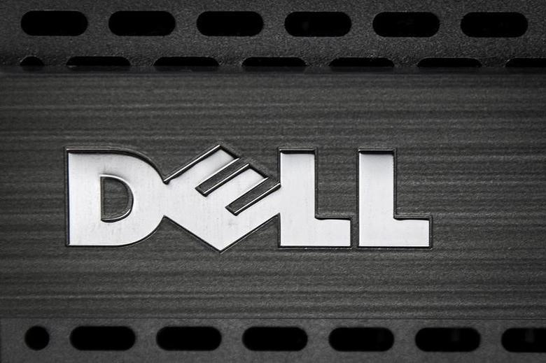 A Dell logo is pictured on the front of a computer in this photo illustration in the Manhattan borough of New York October 12, 2015.   REUTERS/Carlo Allegri