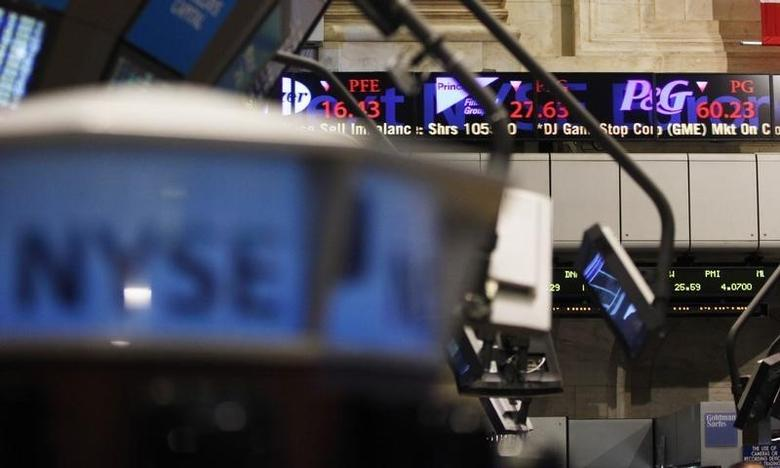 The electronic ticker at the New York Stock Exchange shows the Procter and Gamble stock quotes in New York May 7, 2010.   REUTERS/Shannon Stapleton