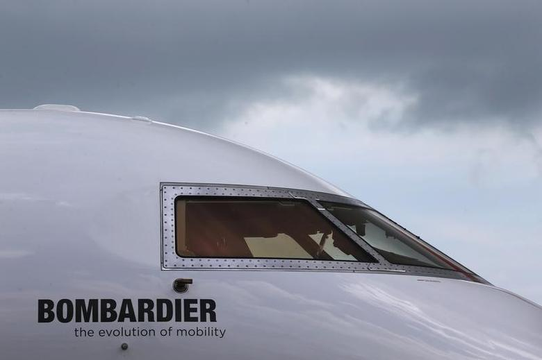 A Bombardier aircraft is displayed at the Singapore Airshow at Changi Exhibition Center February 18, 2016.  REUTERS/Edgar Su