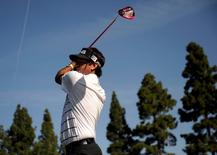 February 20, 2016; Pacific Palisades, CA, USA; Bubba Watson hits from the second hole tee during the third round of the Northern Trust Open golf tournament at Riviera Country Club. Mandatory Credit: Gary A. Vasquez-USA TODAY Sports