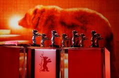 Berlinale bear statuettes are pictured during the awards ceremony of the 66th Berlinale International Film Festival in Berlin, Germany February 20, 2016.     REUTERS/Fabrizio Bensch