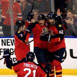 Feb 20, 2016; Sunrise, FL, USA; Florida Panthers right wing Jaromir Jagr (68) celebrates his goal against the Winnipeg Jets with left wing Jussi Jokinen (36) defenseman Dmitry Kulikov (7) and center Vincent Trocheck (21) in the second period at BB&T Center. Jagr's goal puts him in third place with Brett Hull in all time goal leaders.  Mandatory Credit: Robert Mayer-USA TODAY Sports