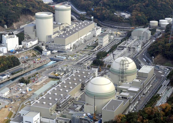 An aerial view shows No. 4 (front L), No. 3 (front R), No. 2 (rear L) and No. 1 reactor buildings at Kansai Electric Power Co.'s Takahama nuclear power plant in Takahama town, Fukui prefecture, in this photo taken by Kyodo November 27, 2014. REUTERS/Kyodo/Files