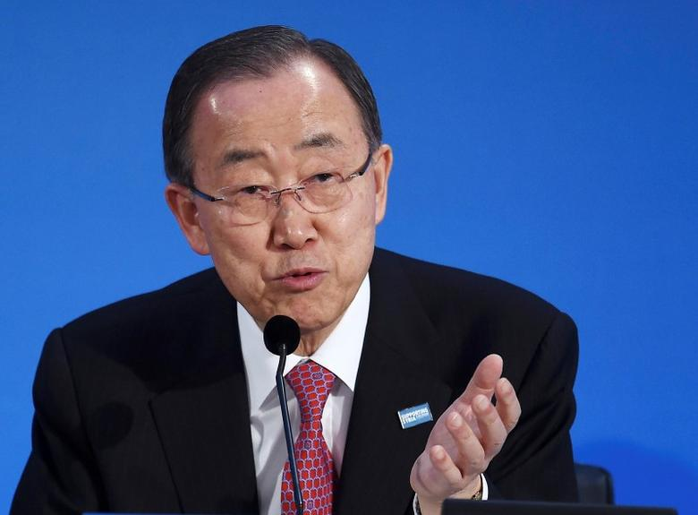 UN Secretary General Ban Ki-Moon speaks at the donors Conference for Syria in London, Britain February 4, 2016. REUTERS/Andy Rain/Pool