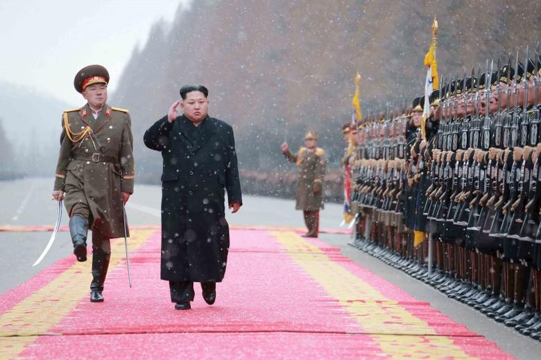 North Korean leader Kim Jong Un salutes during a visit to the Ministry of the People's Armed Forces on the occasion of the new year, in this undated photo released by North Korea's Korean Central News Agency (KCNA) on January 10, 2016.  REUTERS/KCNA