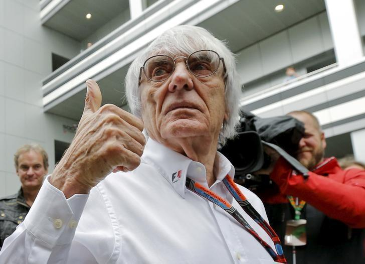 Formula One supremo Bernie Ecclestone speaks to the media at the paddock area ahead of the Russian F1 Grand Prix in Sochi, Russia, October 9, 2015. REUTERS/Maxim Shemetov/Files