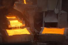 La planta de cátodos de cobre de Enami en Tierra Amarilla, Chile, dic 15, 2015. El cobre cedió el miércoles aún más de sus recientes ganancias por preocupaciones sobre la fortaleza de la demanda tras un  feriado en China y debido a que los inversores abandonaron activos de riesgo.  REUTERS/Ivan Alvarado