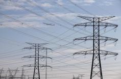 El gestor de la red de transmisión eléctrica española, Red Eléctrica anunció el jueves que su resultado operativo bruto creció un 5,3 por ciento a 1.458 millones de euros en 2015, con un incremento de sus ingresos del 5 por ciento a 1.939 milllones. En la imagen de archivos, torres y líneas eléctricas de REE en las afueras de Madrid, el 23 de diciembre de 2013. REUTERS/Paul Hanna