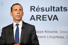 Philippe Knoche, directeur général d'Areva. Le groupe affiche une perte de 2,03 milliards d'euros en 2015 en raison de lourdes pertes liées aux coûts de sa restructuration et à une nouvelle provision pour l'EPR finlandais d'OL3. /Photo prise le 26 février 2016/REUTERS/Charles Platiau