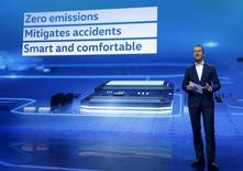 Herbert Diess, chairman of Volkswagen Passenger Cars' board, speaks during a keynote address at the 2016 CES trade show in Las Vegas, Nevada, January 5, 2016.  REUTERS/Steve Marcus - RTX217DN