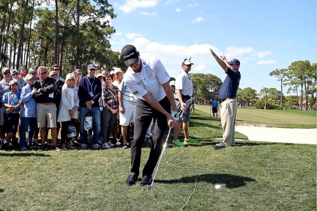 Feb 27, 2016; Palm Beach Gardens, FL, USA; Jimmy Walker chips from the rough on the third hole during the third round of the Honda Classic. at PGA National (Champion). Mandatory Credit: Peter Casey-USA TODAY Sports