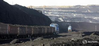Перевозящие уголь грузовые составы у разреза Бородинский близ Бородино 23 сентября 2009 года. Перевозки грузов железными дорогами РФ в феврале 2016 года выросли на 2,9 процента до 95,2 миллиона тонн, сообщила российская железнодорожная монополия РЖД во вторник. REUTERS/Ilya Naymushin