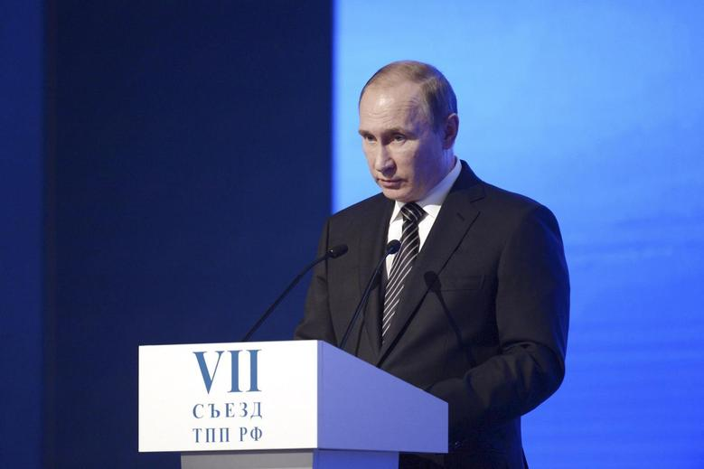 Russian President Vladimir Putin delivers a speech during a congress of the Chamber of Commerce and Industry in Moscow, Russia, March 1, 2016. REUTERS/Alexei Nikolsky/Sputnik/Kremlin