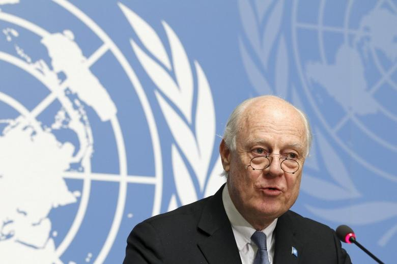 United Nations Special Envoy for Syria Staffan de Mistura speaks to the media during a news conference after briefing the Security Council in Geneva, Switzerland, late February 26, 2016. REUTERS/Pierre Albouy