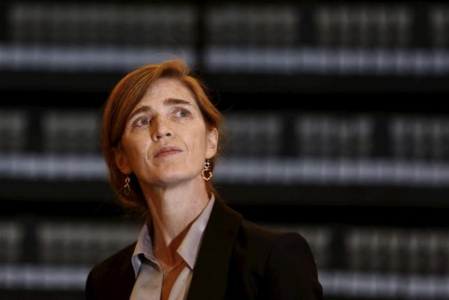 U.S. Ambassador to United Nations Samantha Power looks at pictures of Jews killed in the Holocaust during a visit to the Hall of Names at Yad Vashem's Holocaust History Museum in Jerusalem, February 14, 2016. REUTERS/Amir Cohen