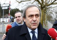 UEFA President Michel Platini arrives at the FIFA headquarters in Zurich, Switzerland February 15, 2016. REUTERS/Arnd Wiegmann