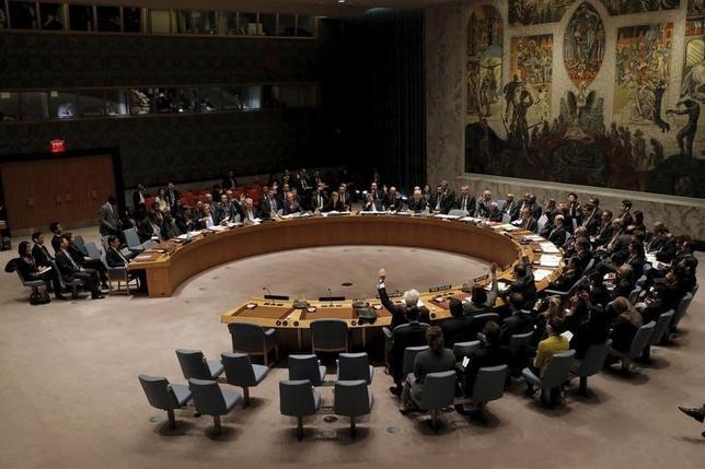 3月2日、国連安保理は対北朝鮮制裁を大幅に拡大する決議を全会一致で採択した。 (2016年 ロイター/Brendan McDermid )