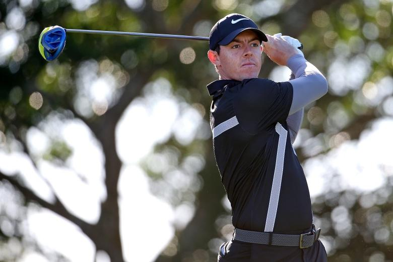 Feb 26, 2016; Palm Beach Gardens, FL, USA; Rory McIlroy tees off on the 14th hole during the second round of the Honda Classic at PGA National. Mandatory Credit: Peter Casey-USA TODAY Sports