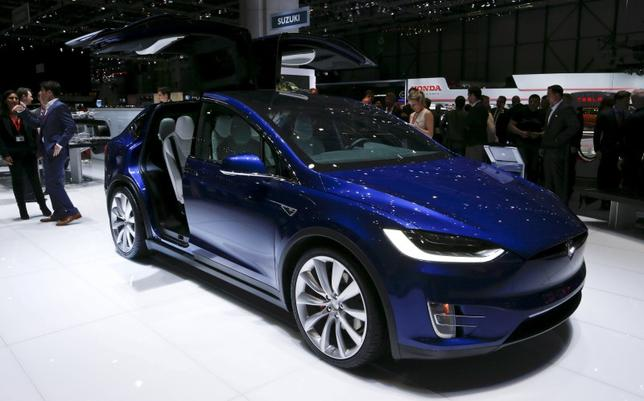 The new Tesla Model X P90D is pictured at the 86th International Motor Show in Geneva, Switzerland, in this March 1, 2016 file photo.  REUTERS/Denis Balibouse/Files