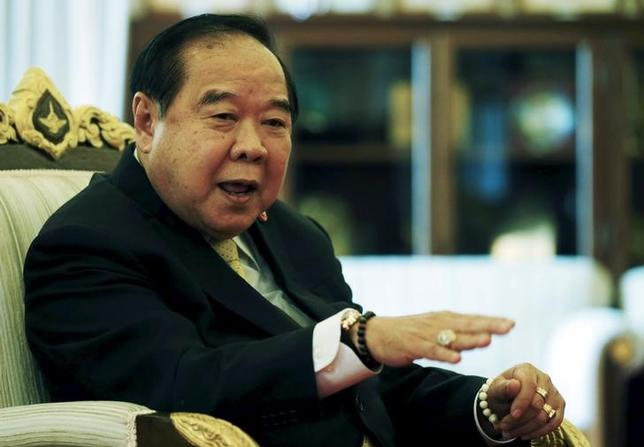Thailand's Deputy Prime Minister and Defence Minister Prawit Wongsuwan gestures during an interview with Reuters at the Defence Ministry in Bangkok, Thailand, February 18, 2016. REUTERS/Chaiwat Subprasom/Files