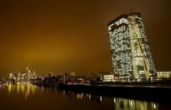 The new headquarters (R) of the European Central Bank (ECB) is pictured in Frankfurt, Germany, January 19, 2016. REUTERS/Kai Pfaffenbach