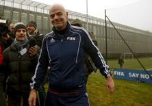 New FIFA President Gianni Infantino leaves the pitch after a friendly football match at FIFA headquarters in Zurich, Switzerland February 29, 2016. REUTERS/Arnd Wiegmann