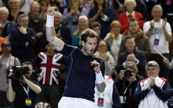 Tennis - Great Britain v Japan - Davis Cup World Group First Round - Barclaycard Arena, Birmingham - 4/3/16 Great Britain's Andy Murray celebrates victory against Japan's Taro Daniel Action Images via Reuters / Andrew Boyers Livepic EDITORIAL USE ONLY.