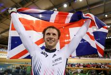 UCI World Track Cycling Championships - London, Britain - 5/3/2016 - Jason Kenny of Britain celebrates winning the men's sprint final. REUTERS/Matthew Childs