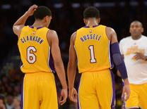 Los Angeles Lakers guard Jordan Clarkson (6) and Lakers guard D'Angelo Russell (1) speak in the second half of the game against the Orlando Magic at Staples Center. Lakers won 107-98. Mandatory Credit: Jayne Kamin-Oncea-USA TODAY Sports