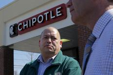 Richard Verube, the Director of Public Health in the town of Billerica, speaks toe reporters outside the temporarily closed Chipotle restaurant in Billerica, Massachusetts March 9, 2016.    REUTERS/Brian Snyder
