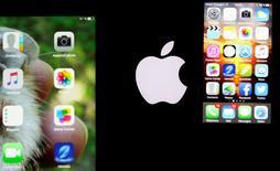 Après plusieurs mois difficiles, Apple reprend des couleurs à Wall Street dans l'anticipation du lancement, ce mois-ci, d'un nouvel iPhone qui devrait relancer ses ventes dans les pays émergents, Chine en tête. /Photo prise le 26 février 2016/REUTERS/Régis Duvignau