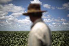 El granjero Rudelvi Bombarda observando su sojal en Barreiras, Brasil, feb 6, 2014. La cosecha de soja de Brasil en 2015/2016 subió a un récord de 101,18 millones de toneladas, desde 100,93 millones previstas en febrero por un aumento en el área de siembra y los rendimientos, dijo el jueves la agencia gubernamental de suministros agrícolas Conab.  REUTERS/Ueslei Marcelino