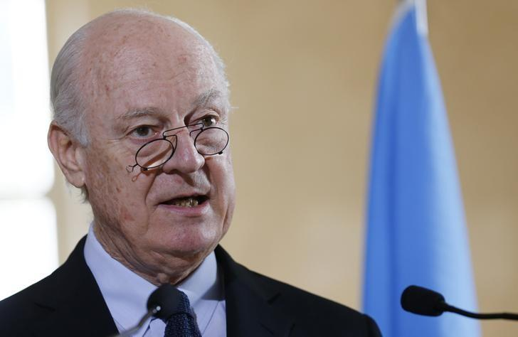 Staffan de Mistura United Nations Special Envoy for Syria addresses a news briefing after a meeting of the Task Force for Humanitarian Access at the U.N. in Geneva, Switzerland, March 9, 2016.  REUTERS/Denis Balibouse