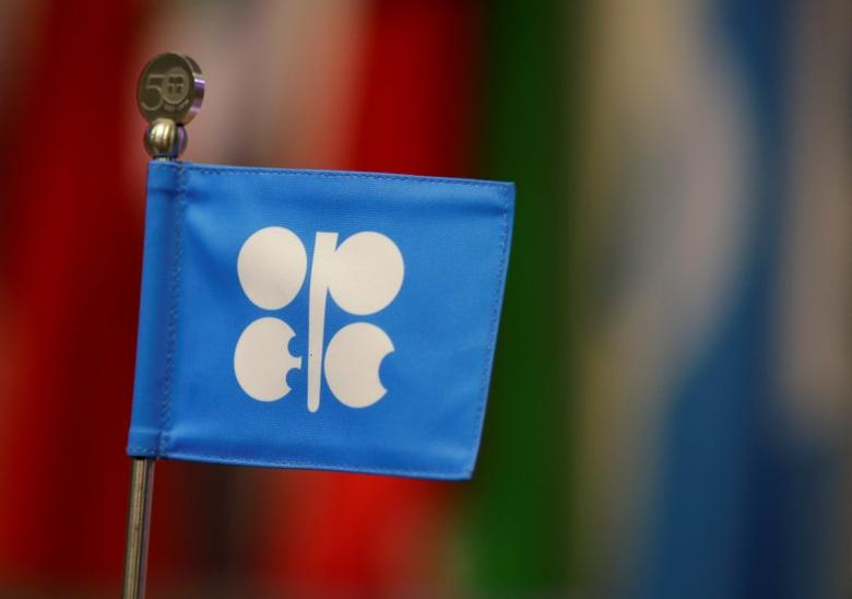A OPEC flag is seen during the presentation of OPEC's 2013 World Oil Outlook in Vienna , November 7, 2013. REUTERS/Leonhard Foeger