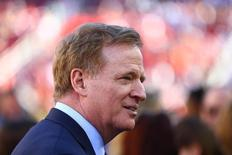 Feb 7, 2016; Santa Clara, CA, USA; NFL commissioner Roger Goodell on the field before Super Bowl 50 between the Carolina Panthers and the Denver Broncos at Levi's Stadium. Mandatory Credit: Mark J. Rebilas-USA TODAY Sports