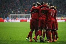 Jogadores do Bayern de Munique comemoram gol contra a Juventus. 16/03/16.  REUTERS/Michaela Rehle