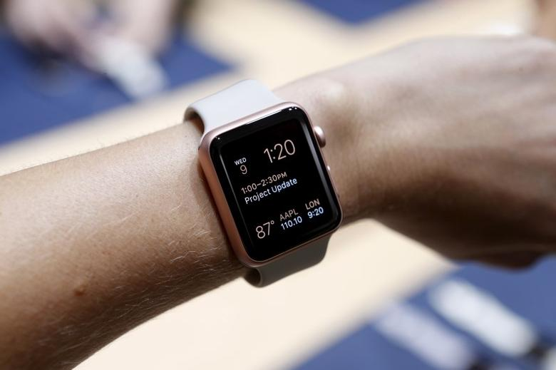 An Apple Watch in the new rose gold color is displayed during an Apple media event in San Francisco, California, September 9, 2015. REUTERS/Beck Diefenbach