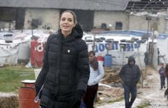 United Nations High Commissioner for Refugees (UNHCR) Special Envoy Angelina Jolie visits Syrian refugees in the Bekaa valley, Lebanon March 15, 2016.  REUTERS/Mohamed Azakir