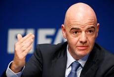 FIFA President Gianni Infantino speaks to the media after the executive committee meeting at the FIFA headquarters in Zurich, Switzerland March 18, 2016. REUTERS/Ruben Sprich