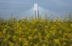 """En la imagen, una torre que pertenece a Abengoa en el parque solar """"Solucar"""" en Sanlucar la Mayor, cerca de Sevilla, el 4 de marzo de 2016.  REUTERS/Marcelo del Pozo"""