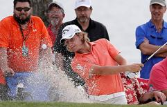 Mar 19, 2016; Orlando, FL, USA; Emiliano Grillo of Argentina hits out of the bunker on the seventh hole during the third round of the Arnold Palmer Invitational presented by Master Card at the Bay Hill Club and Lodge. Mandatory Credit: Reinhold Matay-USA TODAY Sports