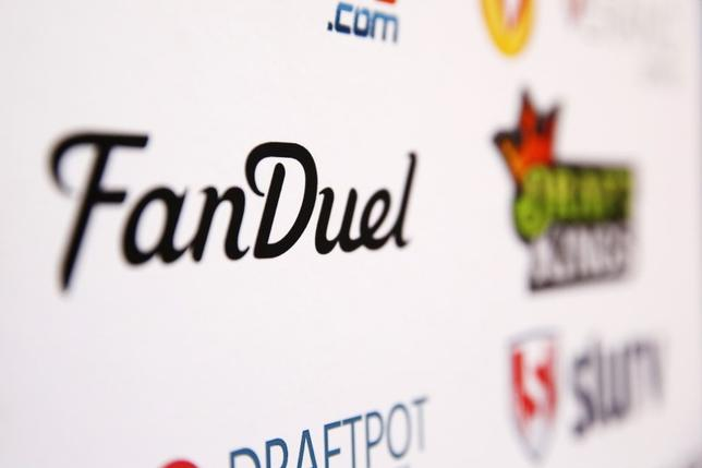 A FanDuel logo is displayed on a board inside of the DFS Players Conference in New York November 13, 2015. REUTERS/Lucas Jackson - RTS6UCJ