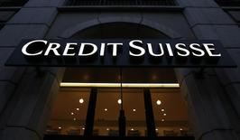 A Swiss bank Credit Suisse sign is pictured in Geneva, Switzerland, March 11, 2016.  REUTERS/Denis Balibouse