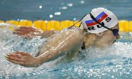 Yana Martynova of Russia swims on the women's 400 individual medley final at the European Swimming Championships in Eindhoven in this March 18, 2008 file photo.     REUTERS/Damir Sagolj